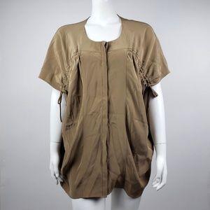 Lafayette 148 Brown Silk Top - Medium